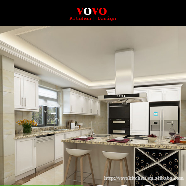 Canada white wood kitchen cabinets with crown mold.