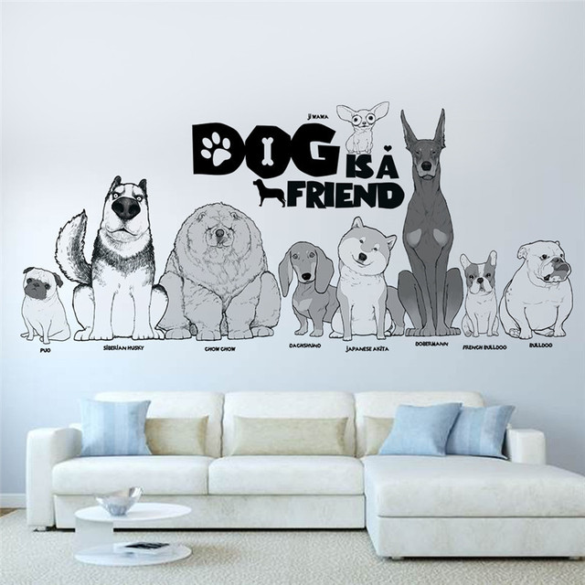 Lovely Dog Friend Wall Sticker Living Room Bedroom Pet Home Wall Decor 3D  Effect Wall Decals