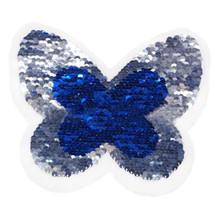 Clothes diy patch butterfly blue/silver change color flip the double sided sequins stickers deal with it patches for clothing