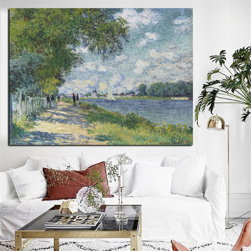 HD Print Claude Monet Seine in Argenteuil Impressionist Landscape Oil Painting on Canvas Art Poster Wall Picture for Living Room (2)