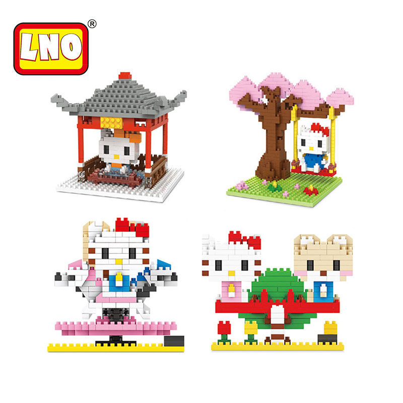 LNO hot nano blocks cute hello kitty diamond building bricks 3D DIY action figures anime model educational toys for kids gifts.