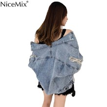 NiceMix New Autumn Basic Jacket Jeans Women Denim Coat Spring Outwear Loose Streetwear Manteau Femme Chaqueta Mujer