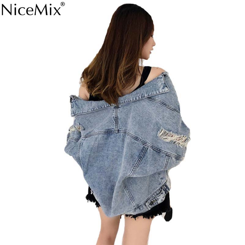 NiceMix New Autumn   Basic     Jacket   Jeans Women Denim Coat Women Spring Outwear Loose Streetwear Manteau Femme Chaqueta Mujer