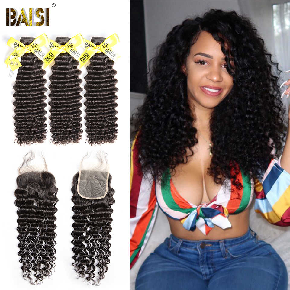 BAISI Hair 100% Unprocessed Human Hair Peruvian Deep Wave Virgin Hair Weave 3 Bundles with Closure