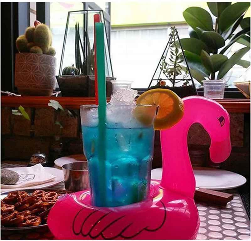 Воздушные Матрасы для чашки надувные фламинго Напитки держатель чашки бассейн поплавки подставки под стаканы Floatation устройства розовый