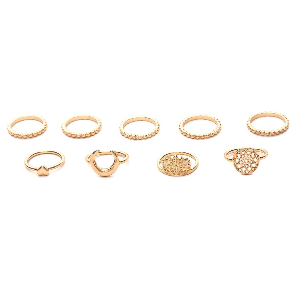 OLOEY Bohomian Women 39 s Rings 9Pcs set Fashion Punk Ring Female Retro Heart Shaped Meniscus Finger Rings Knuckle Jewelry Gifts in Rings from Jewelry amp Accessories