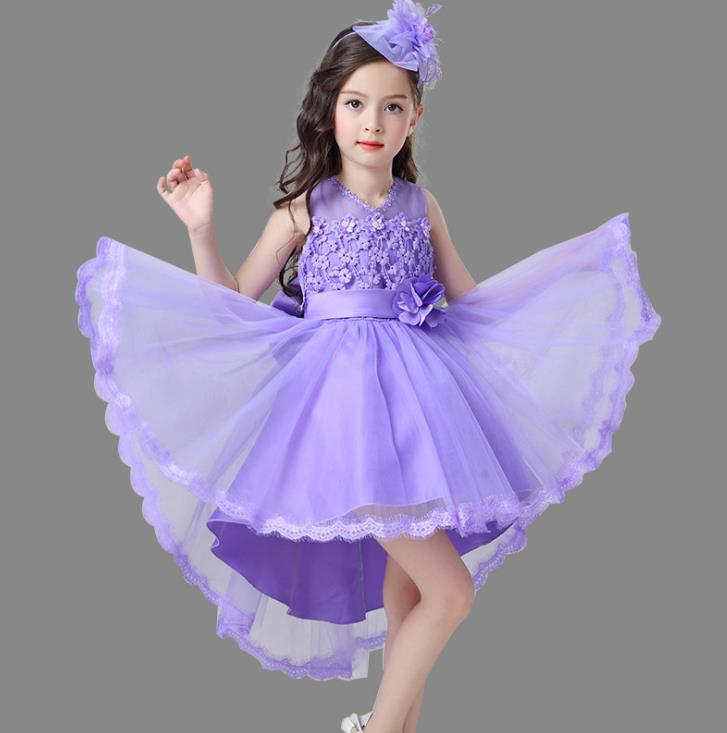 purple pink white Flower Girl Dresses High Low Scoop Long Sleeves Floor Length Satin Tulle Ball Gown Kids Wedding Party Dresses purple lace details long sleeves low waisted lingerie sets
