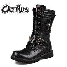 Армейские ботинки Для мужчин Военное Дело кожа борьбе с металлической пряжкой мужской мотоцикл панк Сапоги и ботинки для девочек Мужская обувь рок Zapatillas deprtivas Hombre Мех