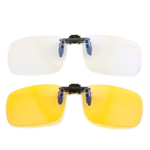 Gudzws Clip on Anti Blue Light Filter Glasses Clips UV Blocking Rectangle Frame Eye Strain From Computer TV Vedio Unisex