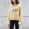 Winter Loose Thick Letter Pullovers Sweater Women Elegant Sweet Khaki White Downy Sweater Shirt Korean Style O-neck Tops