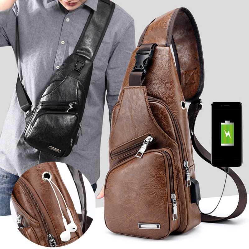 cadbff8cfeb ... Men s Fashion Crossbody Single Shoulder Bag USB Casual Chest Bags High  Quality Faux Leather Shoulder bag ...