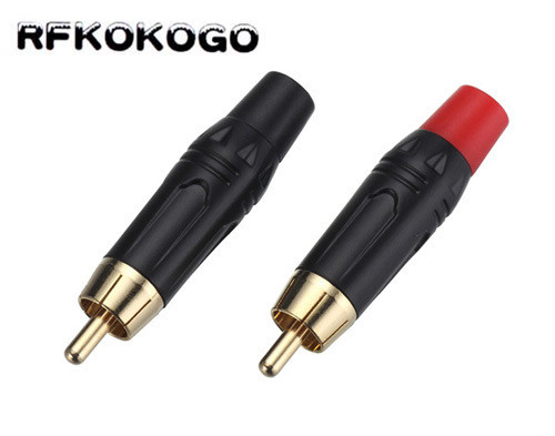 100Pcs High quality Gold Plating RCA Plug RCA Male Connector Audio speaker Adapter plug for 7MM