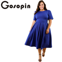 Gosopin Plus Size Women Spring Elegant Office Lady Work Dresses XXXL Blue Fashion Pleated Solid Club