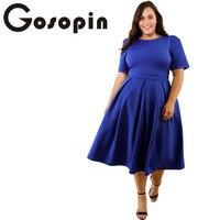 Gosopin Plus Größe Frauen Frühling Elegante Bürodame Arbeit Kleider XXXL Blau Mode Gefaltetes Festes Vereinkleid Neue Herbst LC61843