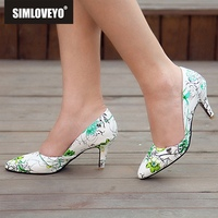 SIMLOVEYO Women pumps High heel printing flower Pointed toe Slip on Spike heel Blue Green party wedding office Big size 44