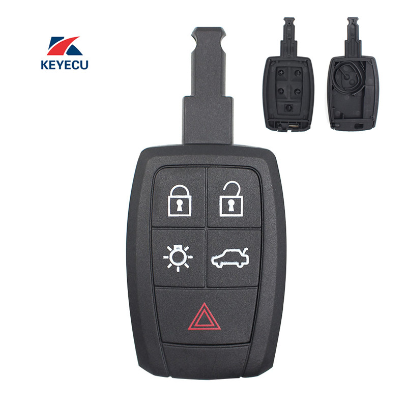 KEYECU <font><b>Replacement</b></font> Remote Car <font><b>Key</b></font> Shell Case Fob 5 Button for <font><b>Volvo</b></font> C30 C70 <font><b>S40</b></font> V50 2008-2011 FCC ID: KR55WK49259 image