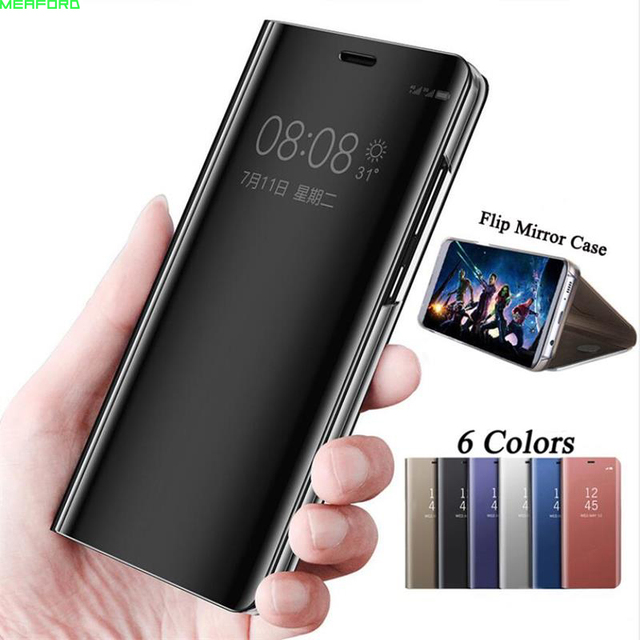 superior quality 69179 3b98c Mirror Smart clear view Flip Case For Samsung Galaxy J6 2018 case luxury  full window view for Samsung J6 2018 Leather Phone Case