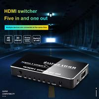 New Aluminum Shell HDMI Switcher 5X1 selector switch with remote HDMI 5 In 1 Out 4K 2 3 4 HDMI Switch Box for PS4,HDTV,DVD,STB