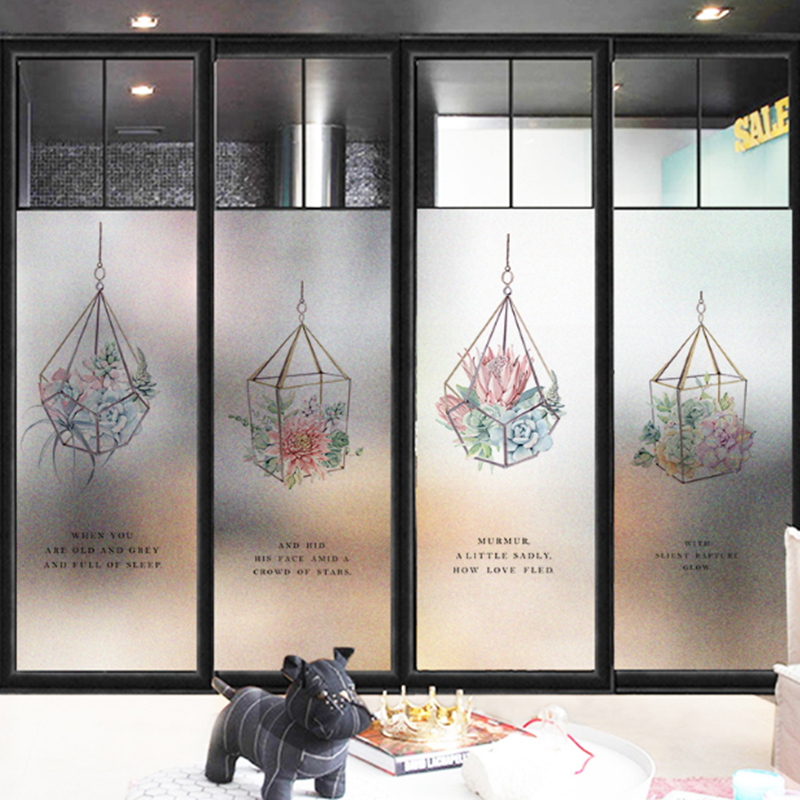 Window Films Static electricity reusable sticker window glass film transparent opaque film Bathroom frost toilet glass sticker B in Wall Stickers from Home Garden