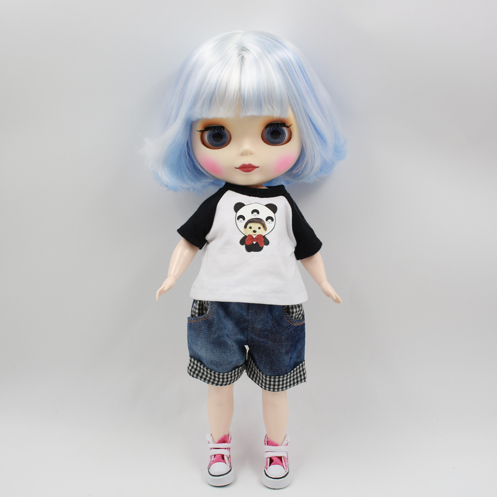ICY Blyth doll with Series No 130BL1366005 Blue mix white hair Matte face Cute Plump Lady