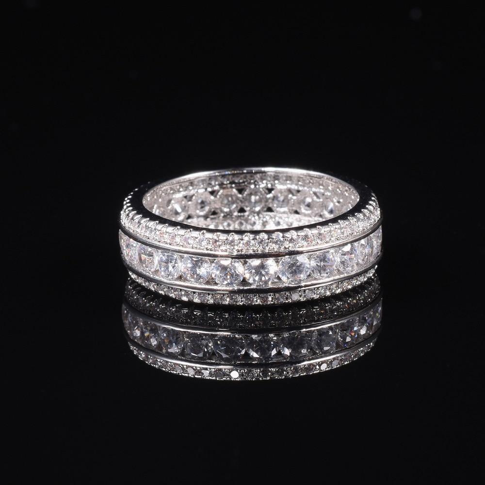 ETERNITY BAND ENGAGEMENT ANNEAU DE MARIAGE DIAMANT simulé PLATINE Taille 6,7, 8,9, 10