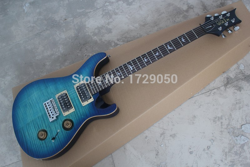 china factory custom Top Quality New P RS Custom electric guitar blue tiger flamed maple top Electric Guitar Free Shipping 51