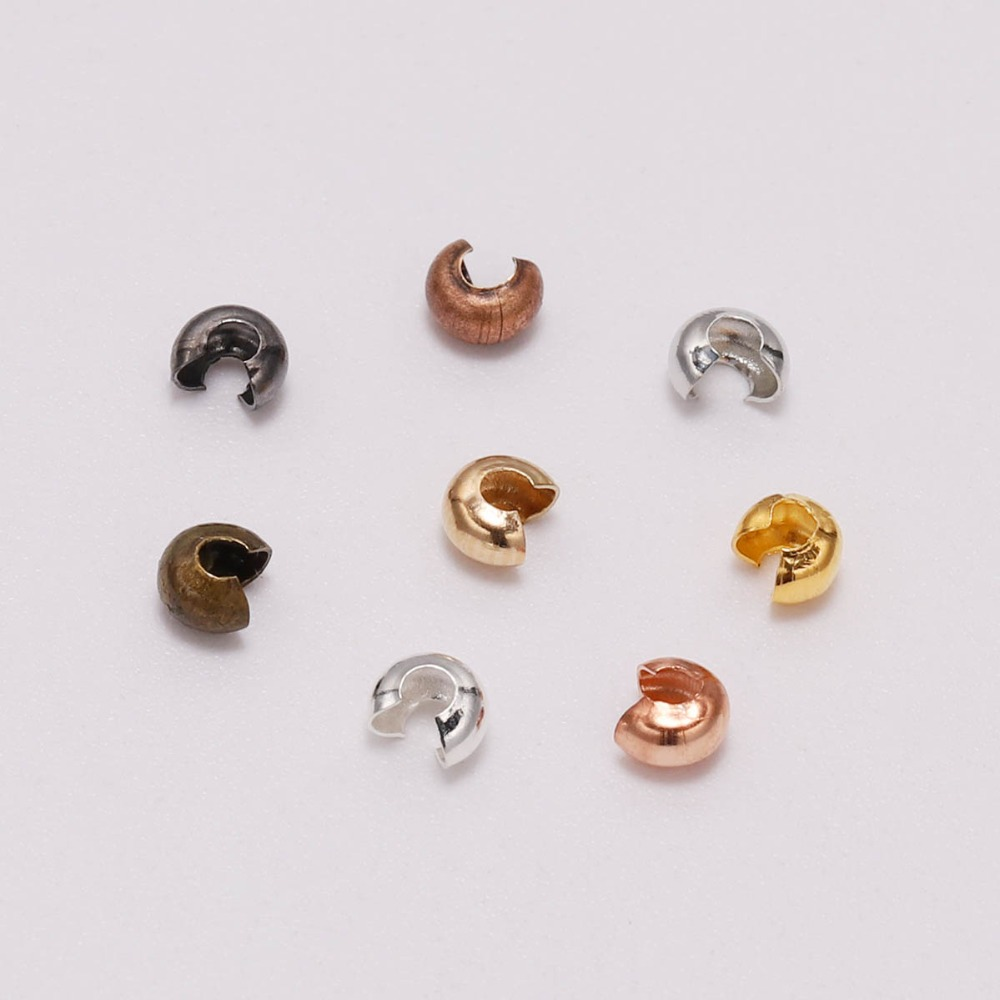 100pcs/lot Gold 3 4 5 Mm Copper Crimp Beads Round Covers Stopper Spacer Beads Supplies For DIY Jewelry Making Finding