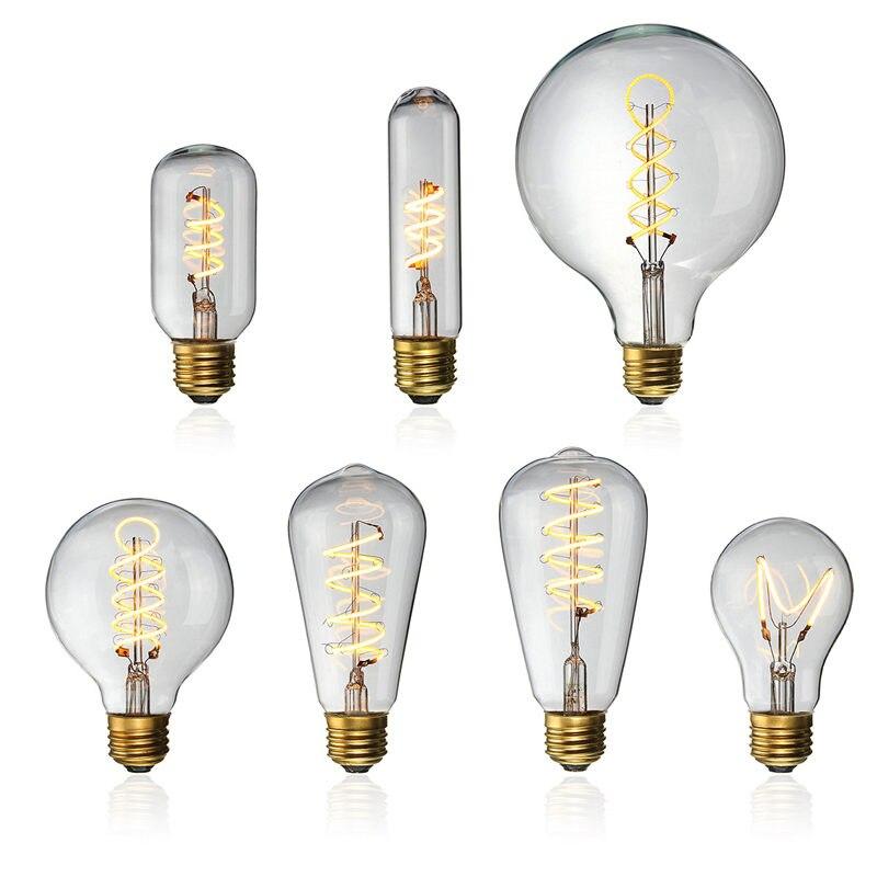Vintage LED Light Bulb Edison Bulb E27 4W Dimmable Industrial Filament Lamp Retro Glass Holiday Lights Chandelier Lighting Decor