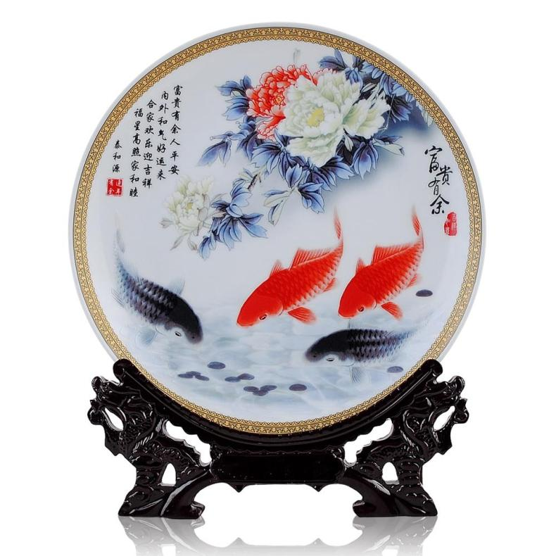 BEST business birthday present - vintage handicraft FENG SHUI FISH wealth  porcelain plate  Decor artBEST business birthday present - vintage handicraft FENG SHUI FISH wealth  porcelain plate  Decor art