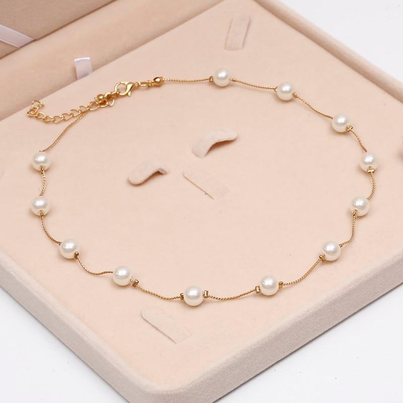Ожерелье из искусственного жемчуга, высокое качество, не вызывает аллергии, опт, золотой цвет, массивное ожерелье, цепочка,, жемчужные украшения - Окраска металла: necklace
