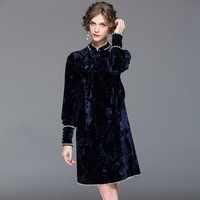 2017 Autumn Winter New Sweet Bow Long Sleeve Ancient Velvet Dress Women Fashion Beaded Bow Stand
