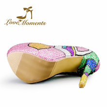 Love Moments shoes woman Multicolor Wedding Shoes rhinestone ladies shoes Platform high heels valentine  designer women shoes