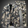 2016 novas flores chegada terno masculino, primavera outono pequeno mens ternos com calças two-pieces jacket + pants tamanho grande M-5XL