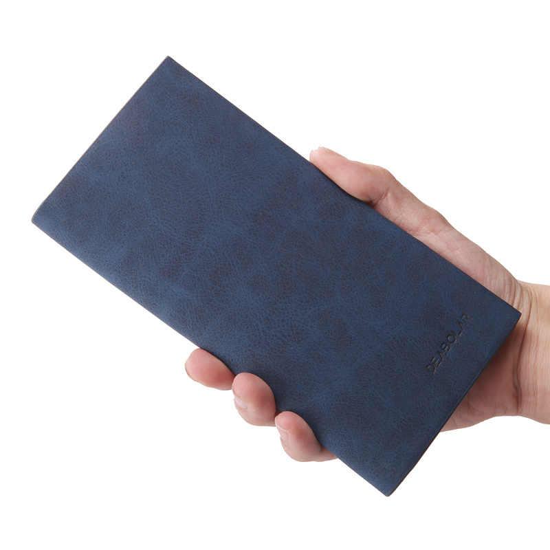 Nueva moda retro de calidad de los hombres pu sección larga cartera ultrafina ocio gran capacidad cremallera Multi-tarjeta titular efectivo organizador