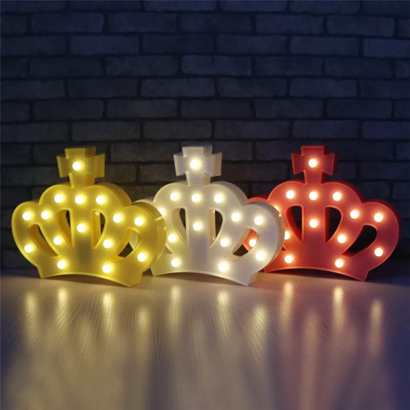 Retro Crown 3D LED Night Light Shine Baby Table Childs Gift Indoor Party Wedding Marquee Battery Princess Lamp Home Decoration