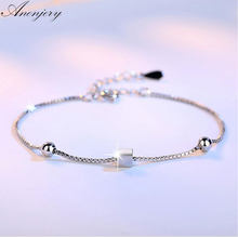 Anenjery Simple Fashion 925 Sterling Silver Bracelets Square Star Beads Box Chian Bracelets & Bangles For Women pulseira S-B92(China)