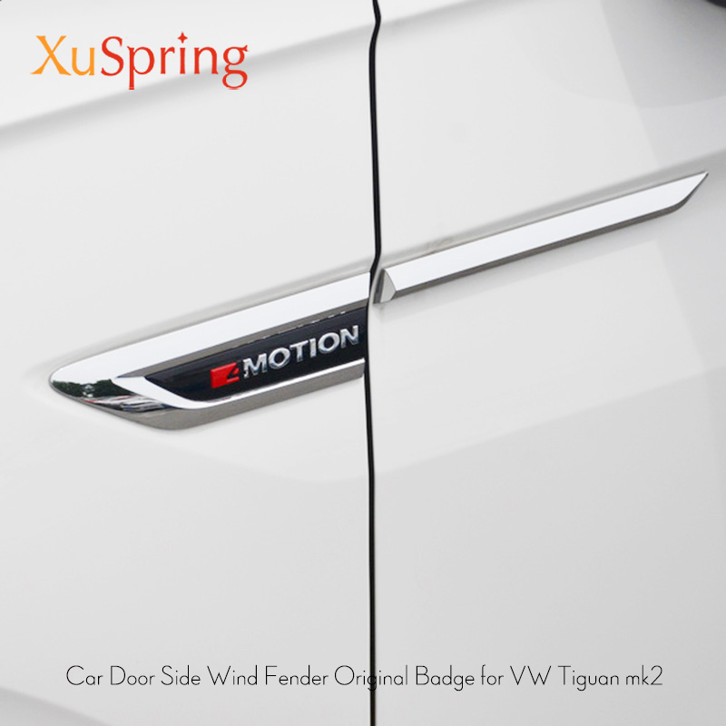 For VW Tiguan 2016 2017 2018 2019 Mk2 Car Side Wing Fender Emblem Badge With 4 Motion Sticker Trim Original Styling