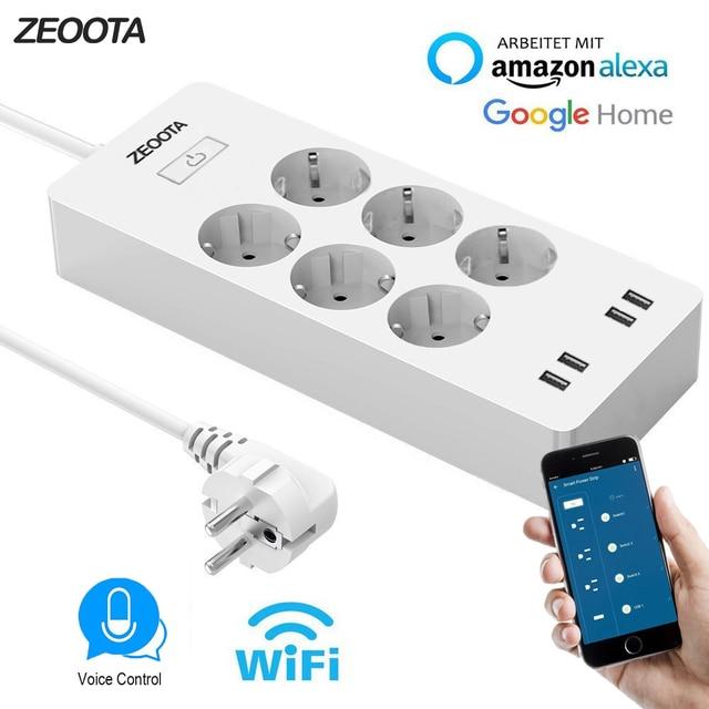 WiFi inteligente de energía de la UE, supresor de picos de tensión con 6 Socket 4 puerto USB de casa inteligente interruptor de Control Compatible con Alexa Google asistente