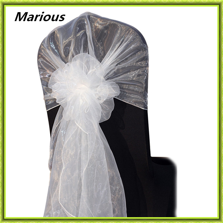 White Snow Organza Chair Hoods Chair Caps Tie chair Back Chair Cover Sash For Wedding Event&Party&Banquet Decoration