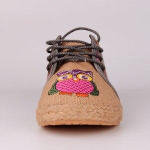 Image 5 - Veowalk винтажные женские туфли из тайского хлопка и льна с вышивкой Совы тканевые туфли на плоской подошве с круглым носком на шнуровке