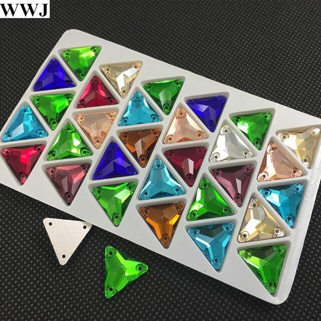 New 30Pcs 16mm Mix Colors Triangle Shape Glass Sew On Stone Flatback 3  Holes Sewing Rhinestones 03ff6e5dfd5d