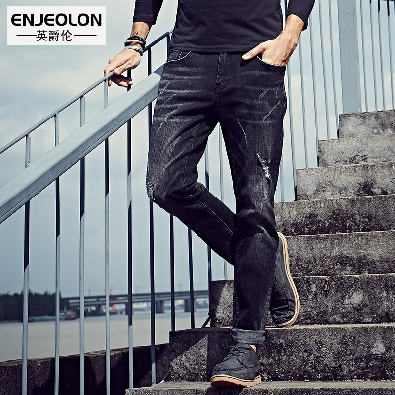Enjeolon brand 2017 top quality jeans men long full trousers clothing Slim fit Straight black jeans