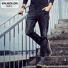 Enjeolon бренд 2017 Джинсы высокого качества мужские длинные полный брюки одежда, Slim Fit прямые черные джинсы мужчин повседневные Брюки для девочек NZ019