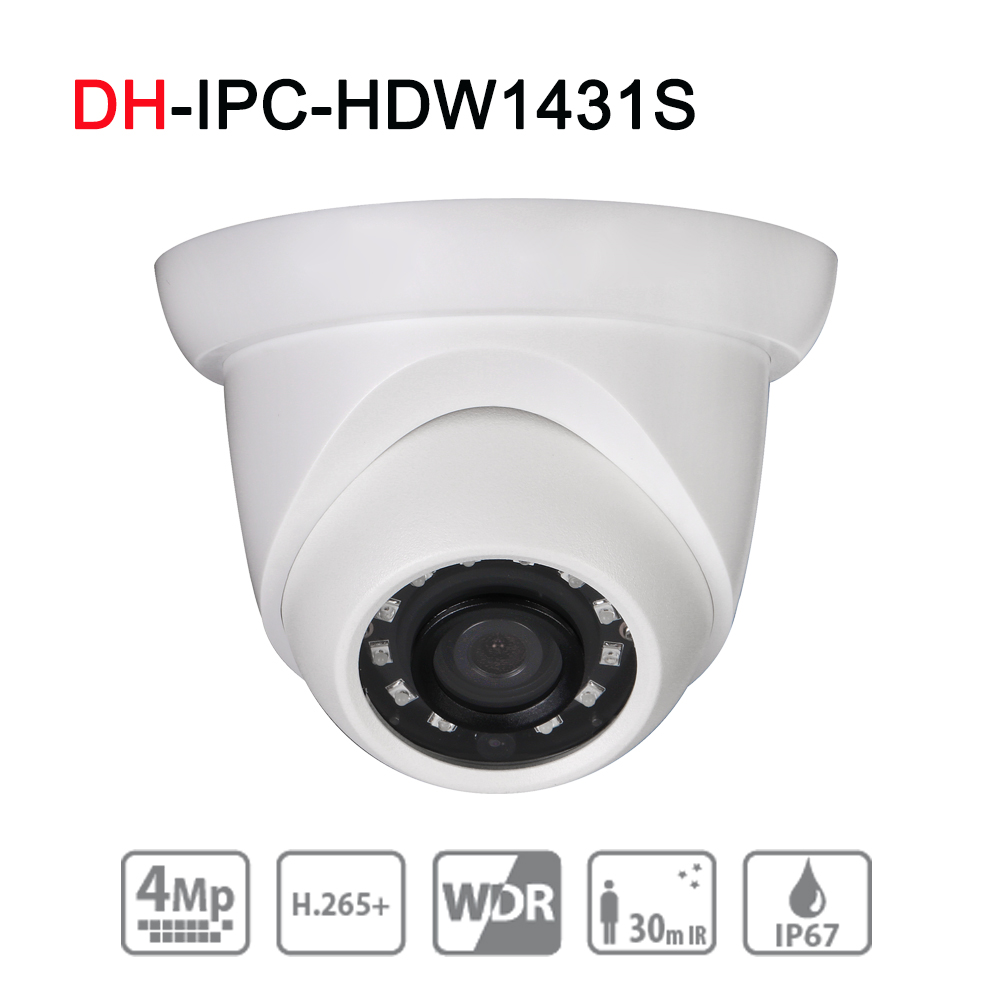 DH IPC-HDW1431S 4MP WDR IR Eyeball Network Camera English Version Upgrade Original with POE IP67 IR30M Security CCTV IP Camera free shipping dahua cctv camera 4k 8mp wdr ir mini bullet network camera ip67 with poe without logo ipc hfw4831e se