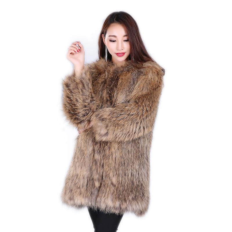 Autumn Nature Fur Coat Jacket Raccoon Fur Knit Coat  Winter Women Fur Fashion Raccoon Fur Medium Long Section Coats