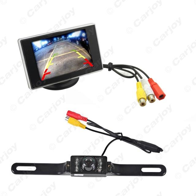 """Digtal 3.5 """"pulgadas 2 en 1 TFT LCD Independiente del Revés del Monitor + Matrícula Cámara de Visión Nocturna Coche de Visión Trasera Sistema # CA3344"""