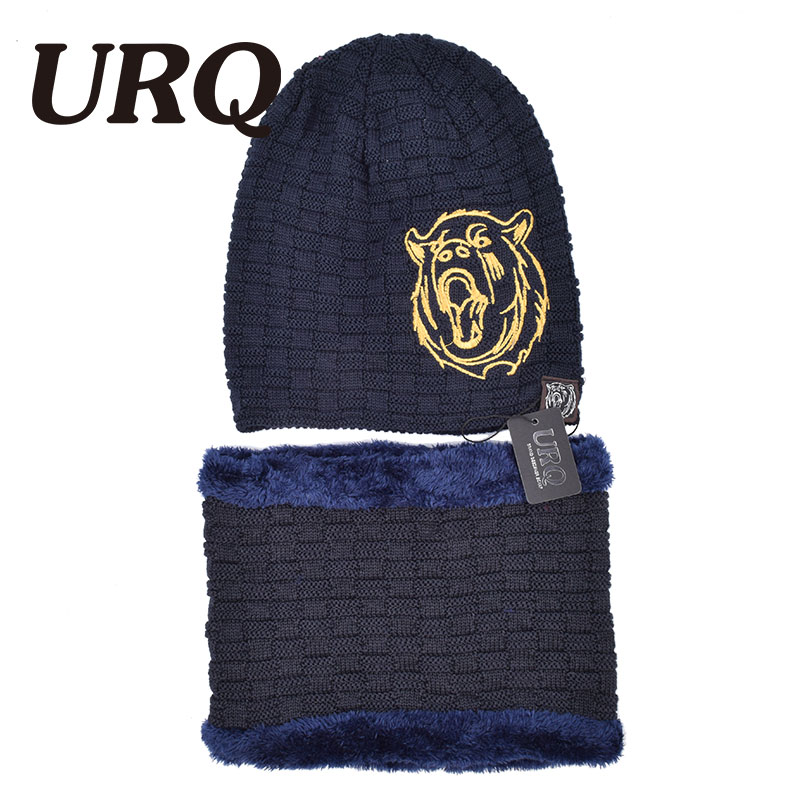 winter warm knitted cap and scarf set for men soft embroidery animal with faux fur Skullies & Beanies 2017 new zea rtm0911 1 children s panda style super soft autumn winter wear cap scarf set blue