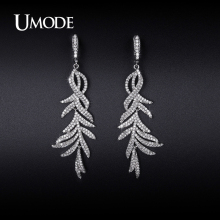 UMODE Drop Earrings For Women 2016 Rhodium plated CZ Crystal Dangle Earrings Costume Jewelry Fashion Girls Hot Gift AUE0216