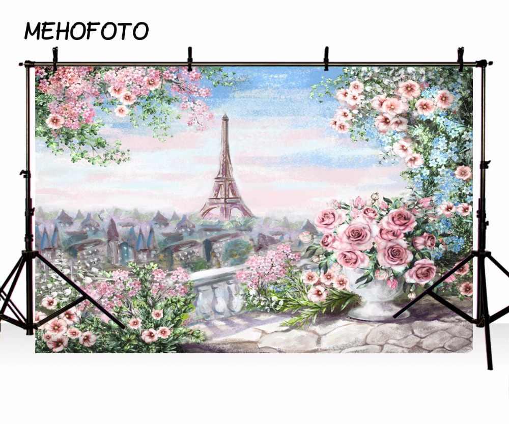 Винил фотографического фон с цветочным принтом Эйфелева башня розовый Европейский замок детей Фоны