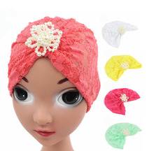 NEW0 Baby hats Sweet Lovely Cute Princess Children Kids Girls Hat Beanie New Lace Floral turban Caps